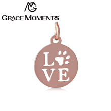 Grace Moments 10pcs/lot Full Polish 316L Stainless Steel LOVE Pet Charm Steel & Gold & Rose Gold 3 Colors DIY Bracelet Charms