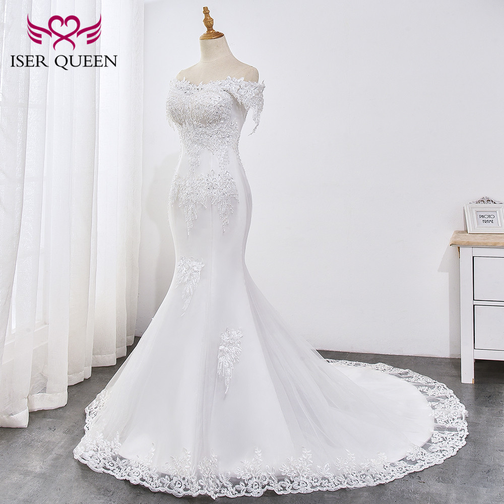 Pearl Appliques Court Train Lace Up Mermaid Wedding Dress 3