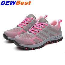 51b8020ea1 Zapatos de seguridad de punta de acero hombres mujeres verano malla  transpirable Industrial y construcción zapatos de trabajo a .