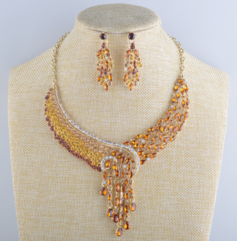 Women's wedding jewelry sets Bridal peacock Crystal necklace earrings set Rhinestone Topaz color gold silver Party jewelry