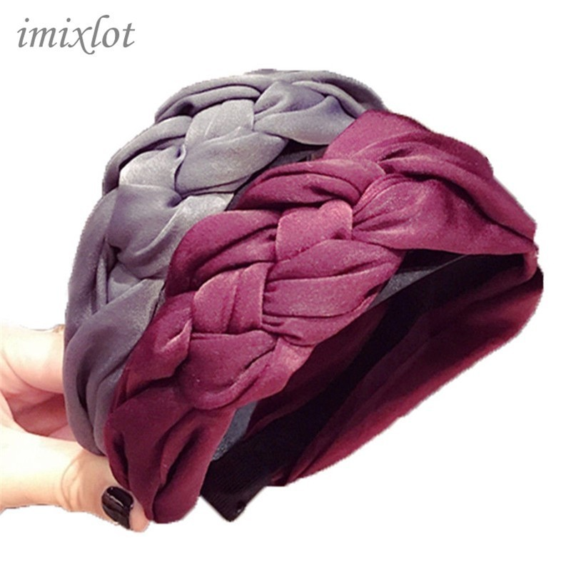 Korean hairband Cotton fabric Knotted headband Vintage twist turban boho hair accessories Wide Hair Band handmade Bow   Headwear
