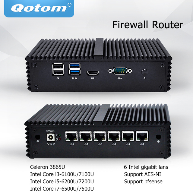 Qotom Mini PC Core i3 i5 i7 без вентилятора, микро компьютер 6 гигабитная Сетевая интерфейсная карта LAN Pfsense AES-NI сервер межсетевого экрана Ubuntu PC Q500G6