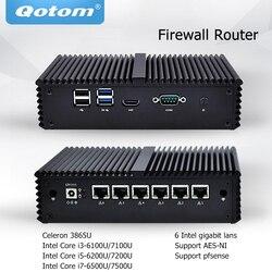 Qotom Мини ПК Core i3 i5 i7 безвентиляторный микро компьютер 6 гигабитный Nic LAN Pfsense AES-NI сервер брандмауэра Ubuntu ПК Q500G6
