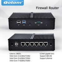 Qotom Mini PC Core i3 i5 i7 Fanless Micro Computer 6 Gigabit Nic LAN Pfsense AES-NI Firewall Server Ubuntu PC q500G6