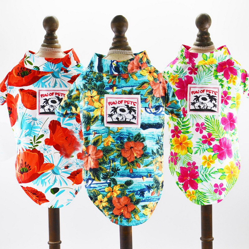 2018 New Hot Sale Hawaii Dog Shirt Clothes Floral Printed Tropic Aerial Plant Comfortable Spring Summer Pure Cotton XS-XL Size