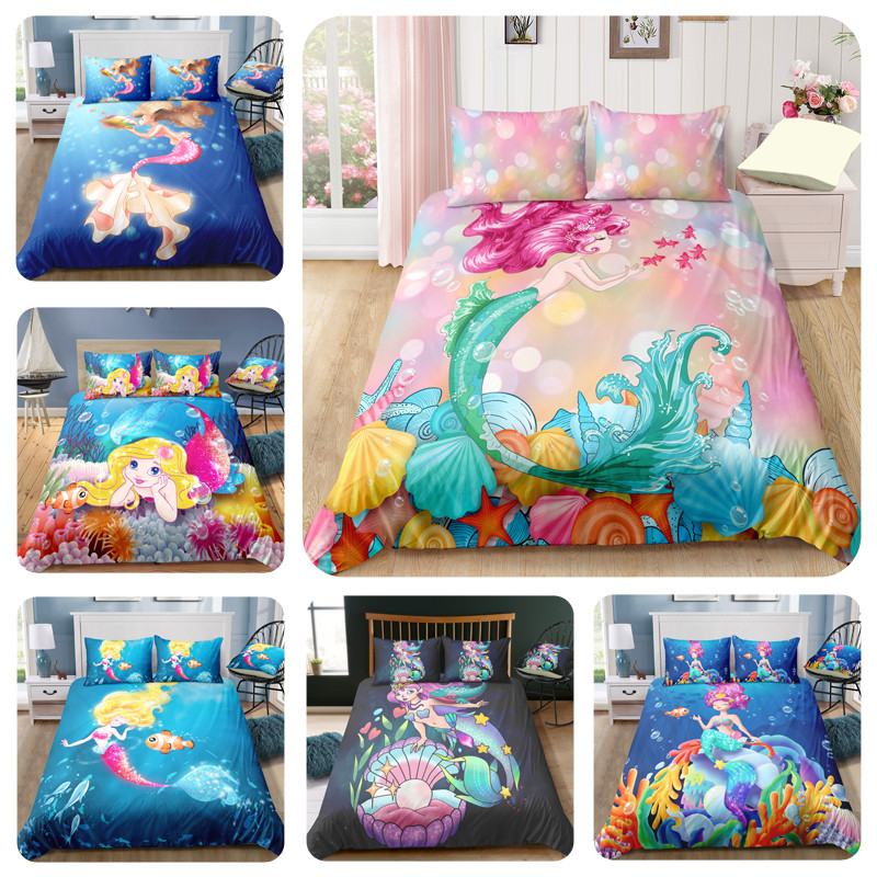 3D Mermaid Printed Bedclothes 3 Piece Luxury Bedding Set Girl Duvet Cover & Pillow Case Kid Bed Linen Twin Bed Set Direct Sales