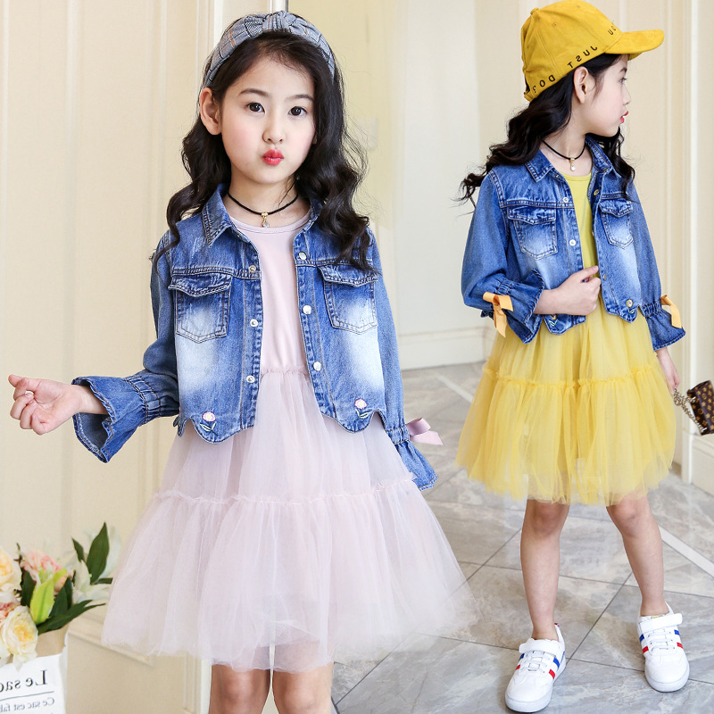 Children's clothing 2018 new girls spring denim clothes sets kids mesh dress suits personality suit baby child casual jackets summer child suit new pattern girl korean salopettes twinset child fashion suit 2 pieces kids clothing sets suits