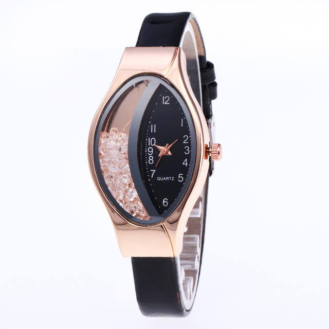 Brand Women's Bracelet Watches Crystal Rose Gold leather Ladies Casual Quartz Dr
