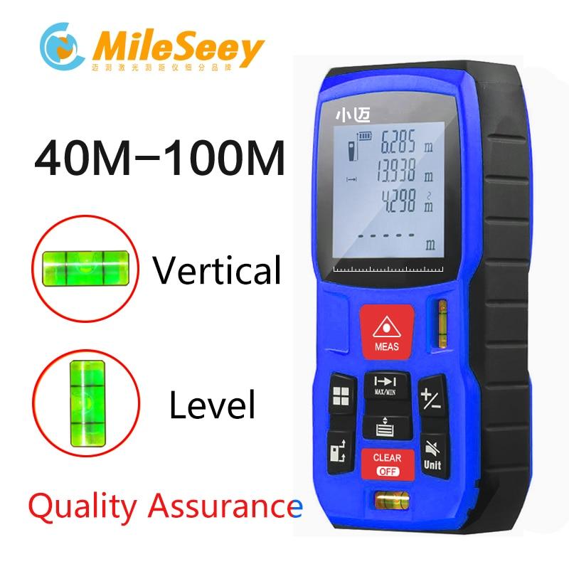 Mileseey Mini Télémètre Numérique laser Mètre de distance laser Ruban à mesurer Diastimeter outil 100 M/80 M/60 M-40 M Télémètre Laser