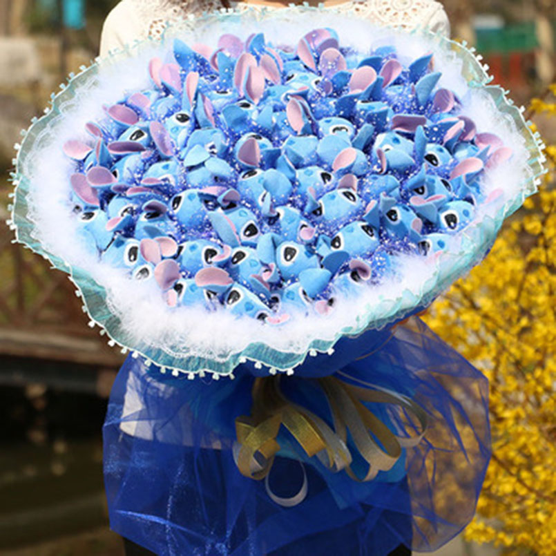 36 Pcs Stitch Bouquet Plush Kawaii Cartoon Stuffed Carton Animals Toys Artificial Fake Flowers Best Birthday Christmas Day Gifts