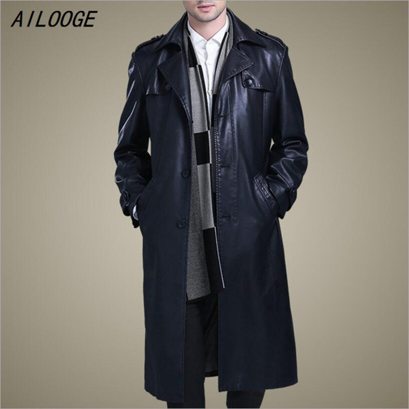 AILOOGE 2018 M-3XL HOT Male New Business Casual Leather Trench Coat Slim Double-breasted Thicken Long Paragraph Overcoat Leather