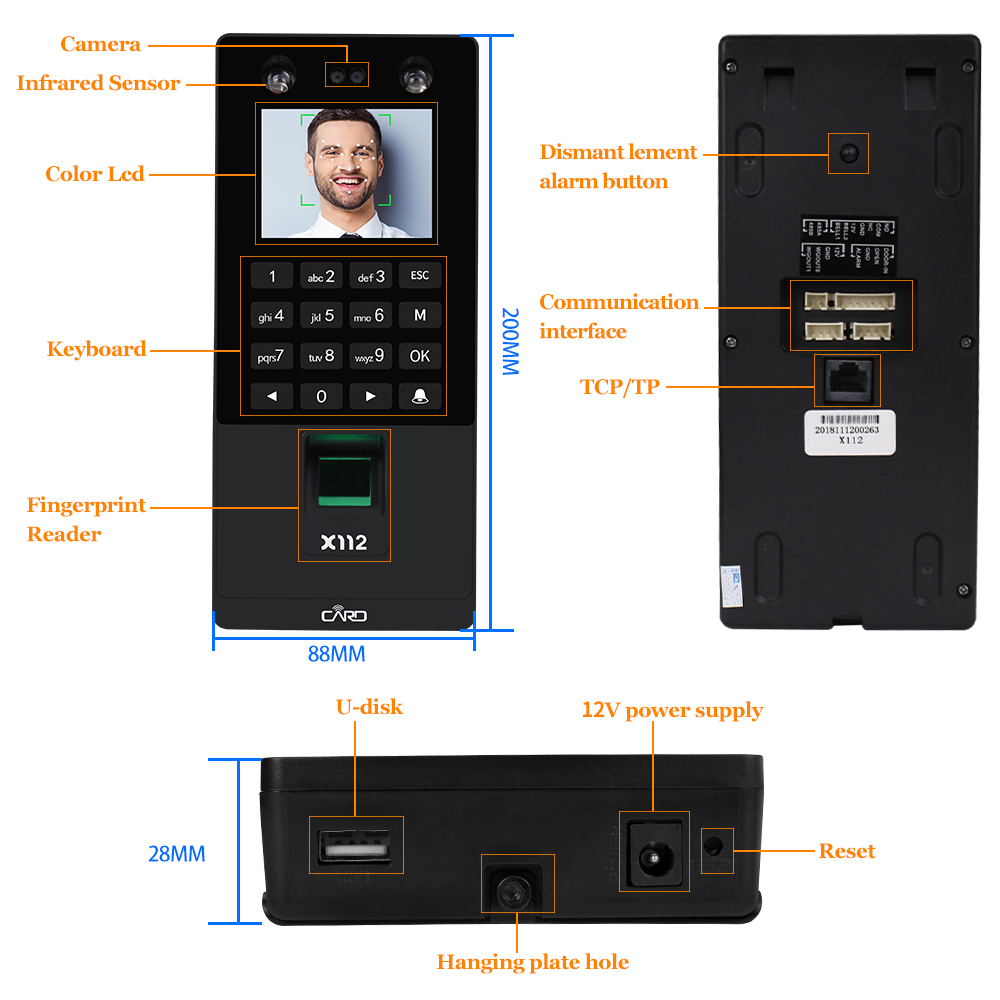 Image 3 - Facial Face RFID Door Access Control System Kit IP/TCP Biometric Fingerprint Attendance Machine USB Password Electric Locks-in Access Control Kits from Security & Protection