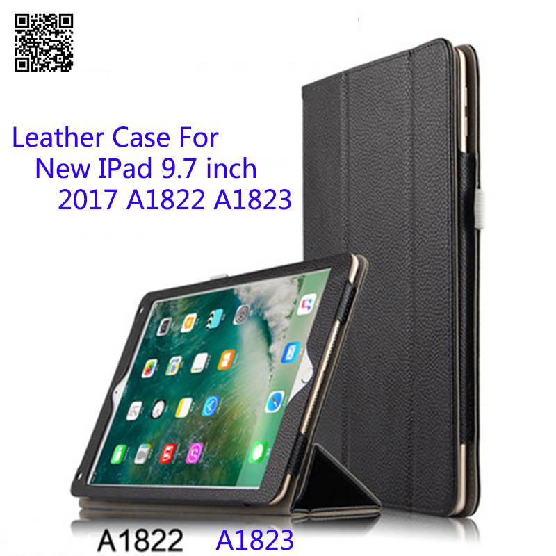 все цены на Leather Case For iPad 9.7 Inch 2017 A1822 A1823 Tablet PC Smart Wake-up Sleep Stand Protective Shell/Skin Stylus As Gift онлайн