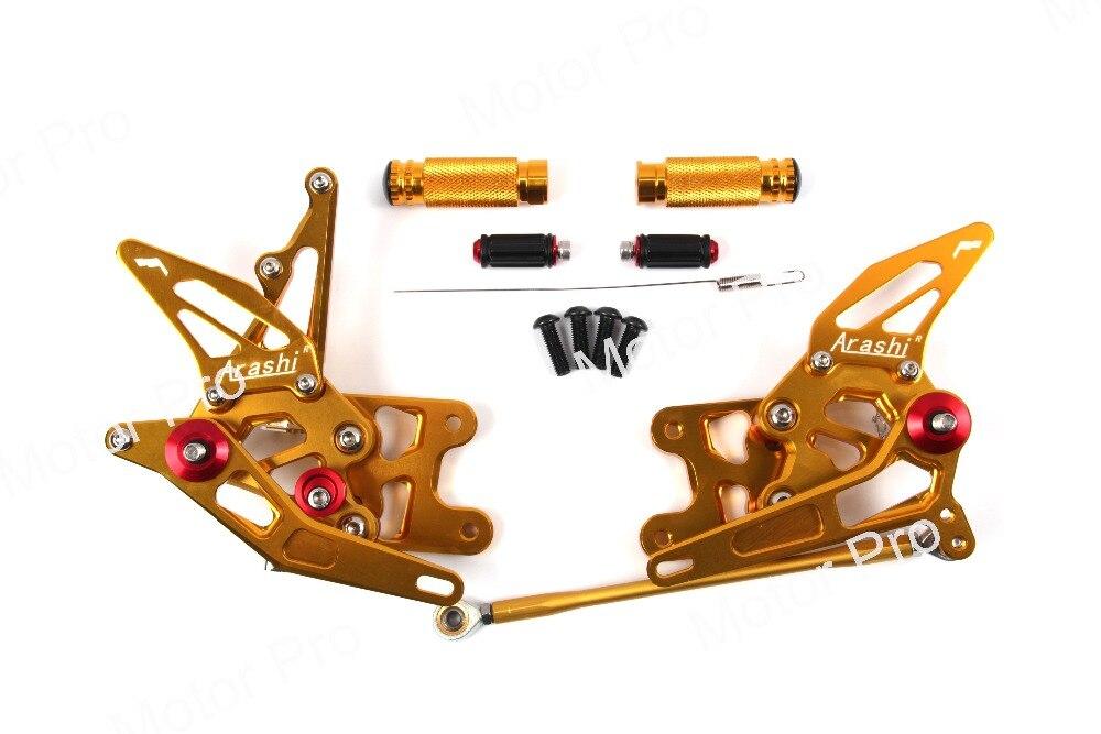 Регулируемый подножки для SUZUKI GSX-R 1000 2007 2008 GSXR1000 мотоцикл подставки для ног колышки Rearset сзади Комплект Педали GSX-R GSX R золото