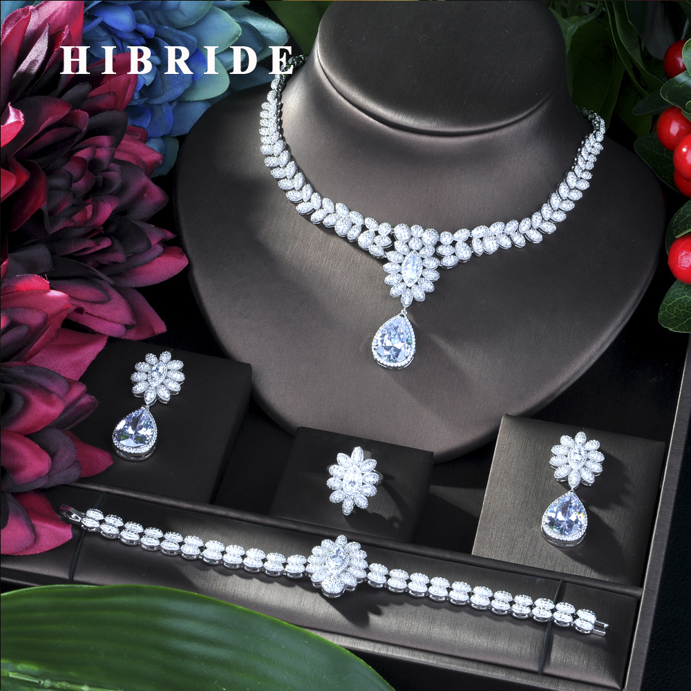 HIBRIDE New Princess Wedding Jewelry Set With Claw Inlay Cubic Zircon High Quality Bridal Necklace Jewelry 4 pcs Set N-33HIBRIDE New Princess Wedding Jewelry Set With Claw Inlay Cubic Zircon High Quality Bridal Necklace Jewelry 4 pcs Set N-33