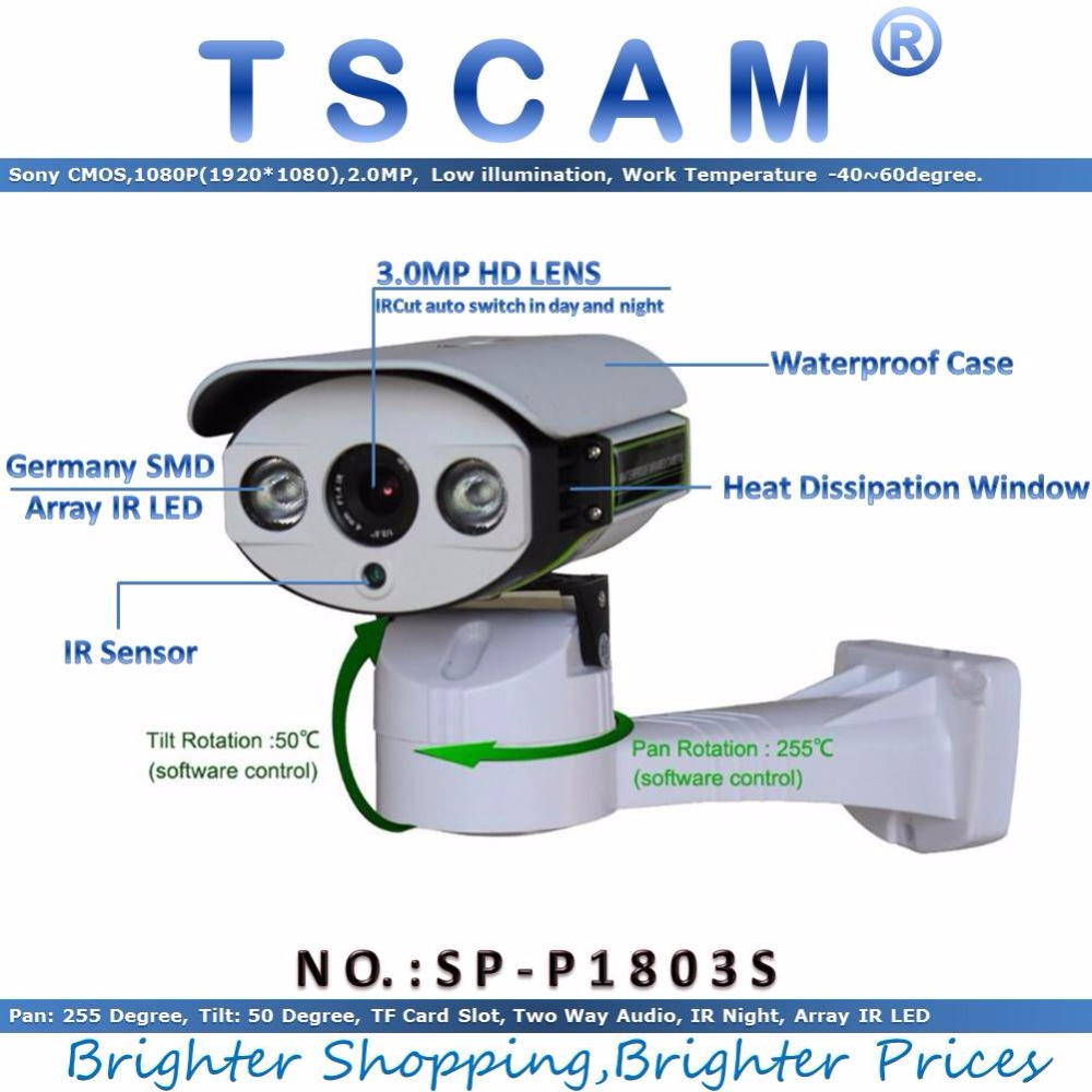 TSCAM new SP P1803S CCTV IP Camera Full HD 1080P 2 0MP with TF Micro SD