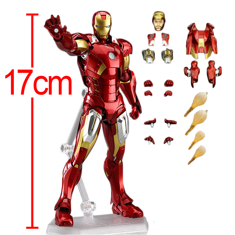 C&F Iron Man Anime Action Figure Toys 17 CM Collectiable Tony Stark Removable Model Brinquedos Collectible PVC Toys 1set hot toys hottoys ht mms209 1 6 iron man tony stark the mechanic collectible figure specification new box in stock
