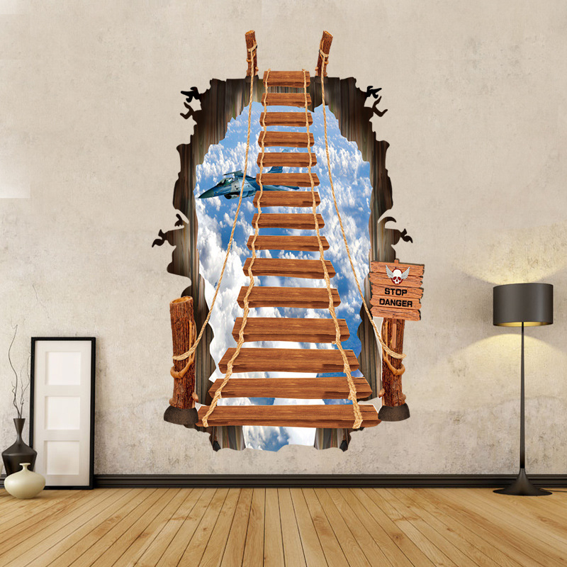 3d fashion creative staircase ladder vinyl wall stickers for Airplane cockpit wall mural