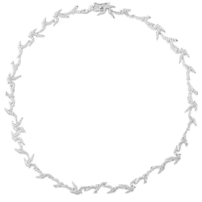 SLJELY 高級 925 スターリングシルバーツバメチョーカーマイクロパヴェフルキュービックジルコニア石女性のためのブランドジュエリー
