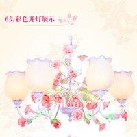 Giardino in stile europeo soggiorno Romantico Ristoranti bianco in ferro battuto rosa fiori di ceramica di vetro Lampada a sospensione paralume c186