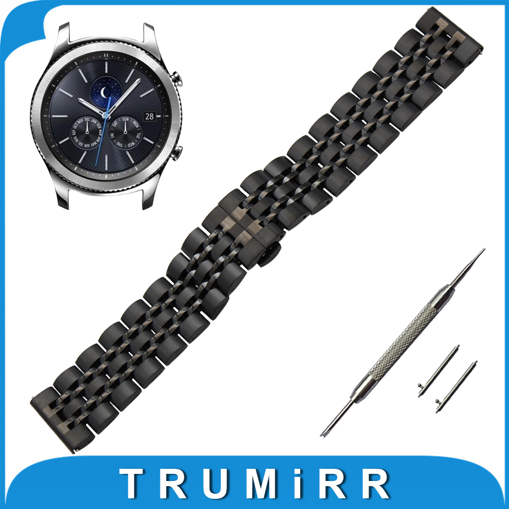 22mm Stainless Steel Watch Band for Samsung Gear S3  Classic / Frontier Butterfly Buckle Strap Quick Release Wrist Belt Bracelet 22mm quick release ceramic watch band for samsung gear s3 classic frontier steel butterfly buckle strap wrist belt link bracelet