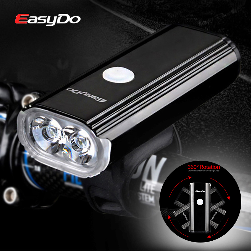 Easydo 1000Lumen USB Rechargeable Bicycle Light 2 LED Bike Headlight MTB Road Front Head Lamp Cycling Flashlight For Bike 4400mA gaciron 1000lumen bicycle bike headlight usb rechargeable cycling flashlight front led torch light 4500mah power bank for phone