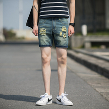 2016 summer new men's Denim Shorts slim hole five feet Korean beach pants