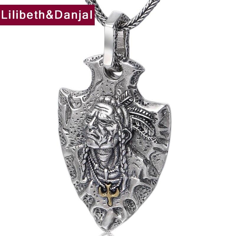 2019 ethnique indien plume vol aigle pendentif 100% 925 bijoux en argent Sterling hommes femmes collier pendentif bijoux de mode P25