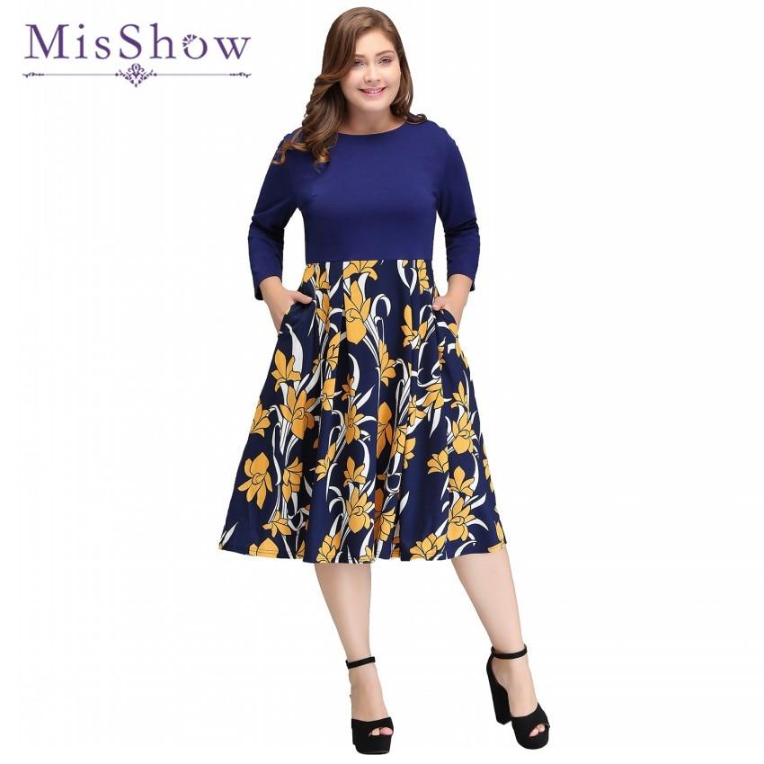 MisShow 2018 New Vintage Rockabilly Dress Floral Print S-4XL Plus Size Winter Round Neck Casual Dresses Big Size Retro Ball Gown