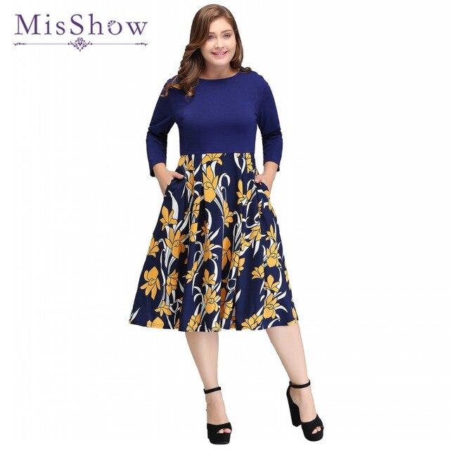 US $17.99 30% OFF|Aliexpress.com : Buy MisShow 2019 New Vintage Rockabilly  Dress Floral Print S 4XL Plus Size Winter Round Neck Casual Dresses Big ...