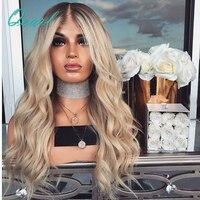 Плотность 150 свободные волнистые 4/613 блондинка Синтетические волосы на кружеве человеческих волос парики предварительно сорвал Волосы remy С