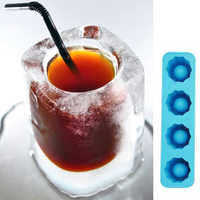 1PCS Creative 3D Ice Cube Mold Freeze 4 Cups Glasses Mould Novelty Gifts Tray Summer Party Kitchen Drinking Bar Glass Tools