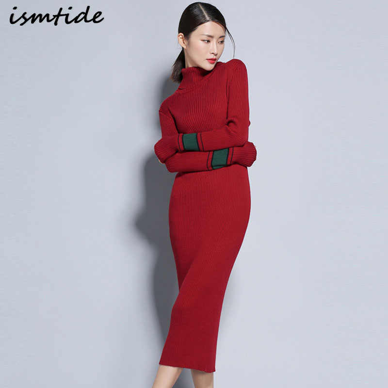 4a15710d248 Cashmere Dress Women Autumn Turtleneck Warm Cashmere Dresses Long Sleeve  Slim Pullovers Elastic Knitted Maxi Dresses