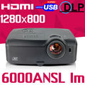 300inch Advertise Presentation Rear Daylight 6000ANSI Video USB HDMI Blu-ray 1080p full HD DLP Projector Proyector