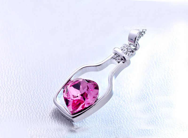 Colar de coração de cristal feminino amor deriva garrafas pingente colares para mulher menina corrente gargantilha colar de jóias