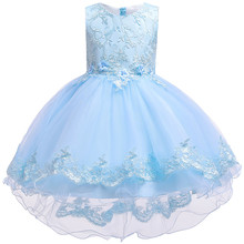 Children Birthday Clothing Embroidery Lace Big Bow Baby Girl Dress for Wedding Party Kids Dresses for Girls Trailing Dress