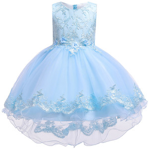 Image 1 - Children Birthday Clothing Embroidery Lace Big Bow Baby Girl Dress for Wedding Party Kids Dresses for Girls Trailing Dress