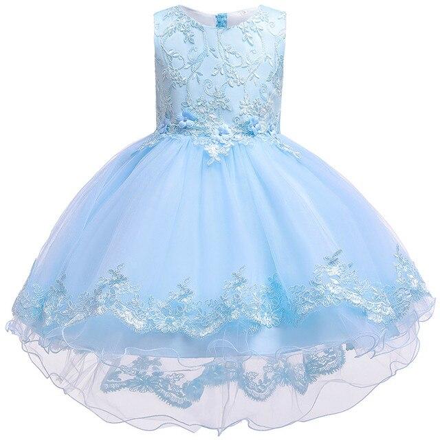 Kinder Geburtstag Kleidung Stickerei Spitze Großen Bogen Baby Mädchen Kleid für Hochzeit Kinder Kleider für Mädchen Hinter Kleid
