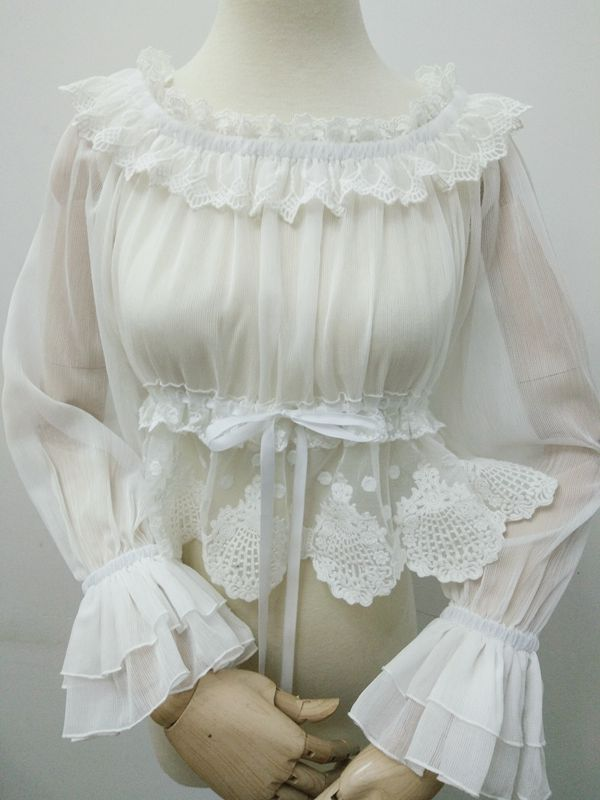 Summer Off the Shoulder White Lolita Lace Blouse with Long Flare Sleeve Elastic Waist