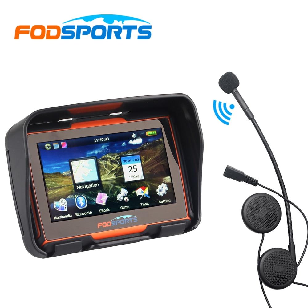 Bluetooth Headset 256M 8GB 4 3 Inch Waterproof Motorcycle GPS Navigator Motorbike Navigation Free Maps Instruction
