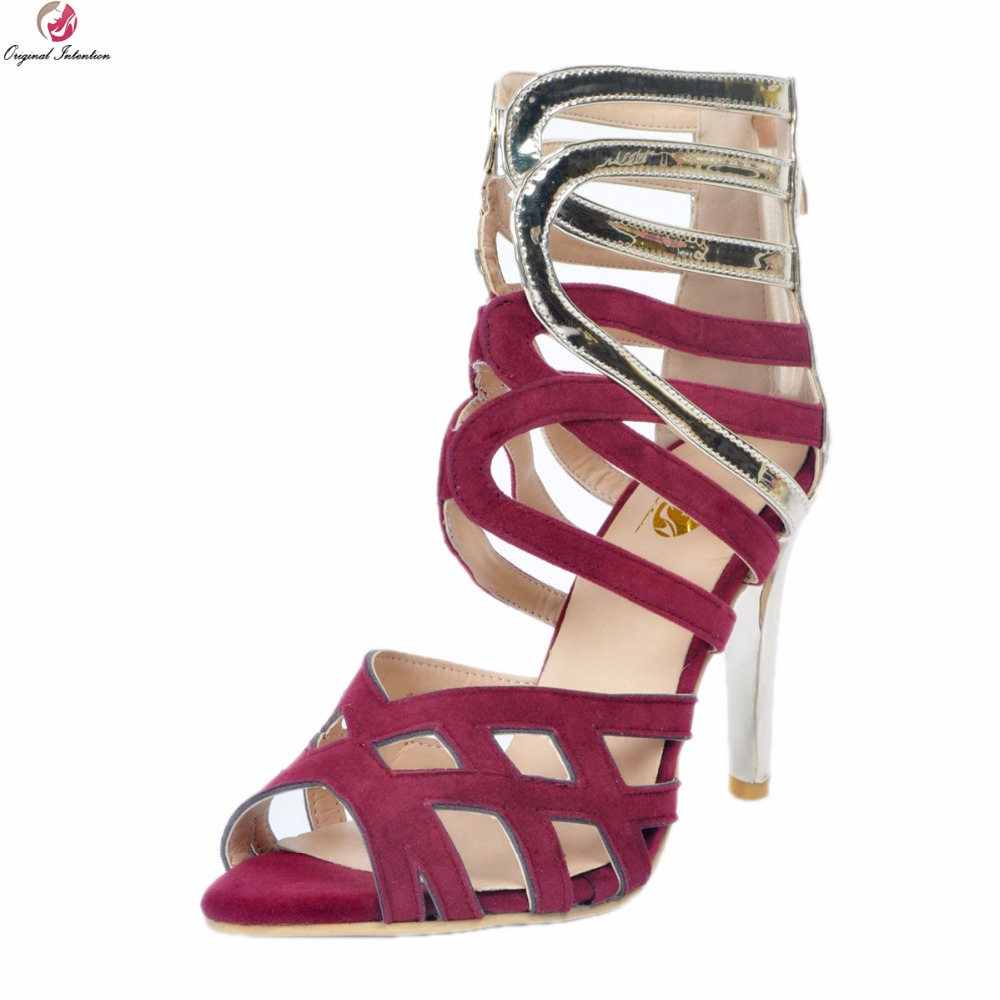 Original Intention New Fashion Women Sandals Fashion Open Toe Thin Heels Sandals Elegant Wine Red Shoes Woman Plus US Size 4-15 hot selling sexy sloid thin heels sandals woman new desig lace red white black sandals peep toe elegant for women free sipping