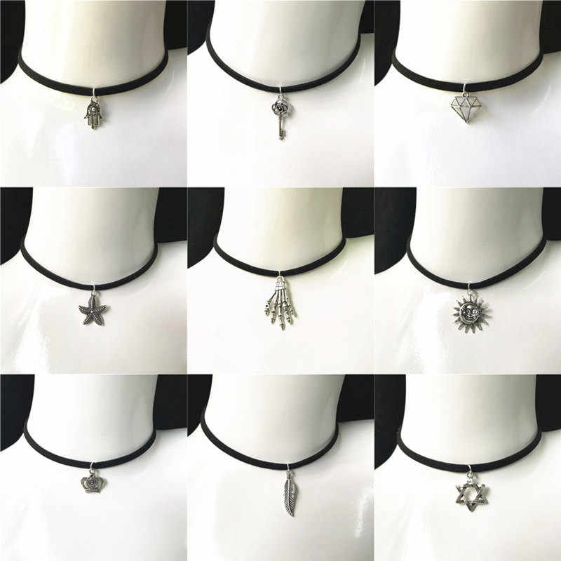 Gothic Velvet Necklace Vintage Lace Choker Necklace & Pendants  For Women Collar Torques Charm Punk Neck Jewelry DIY Handmade