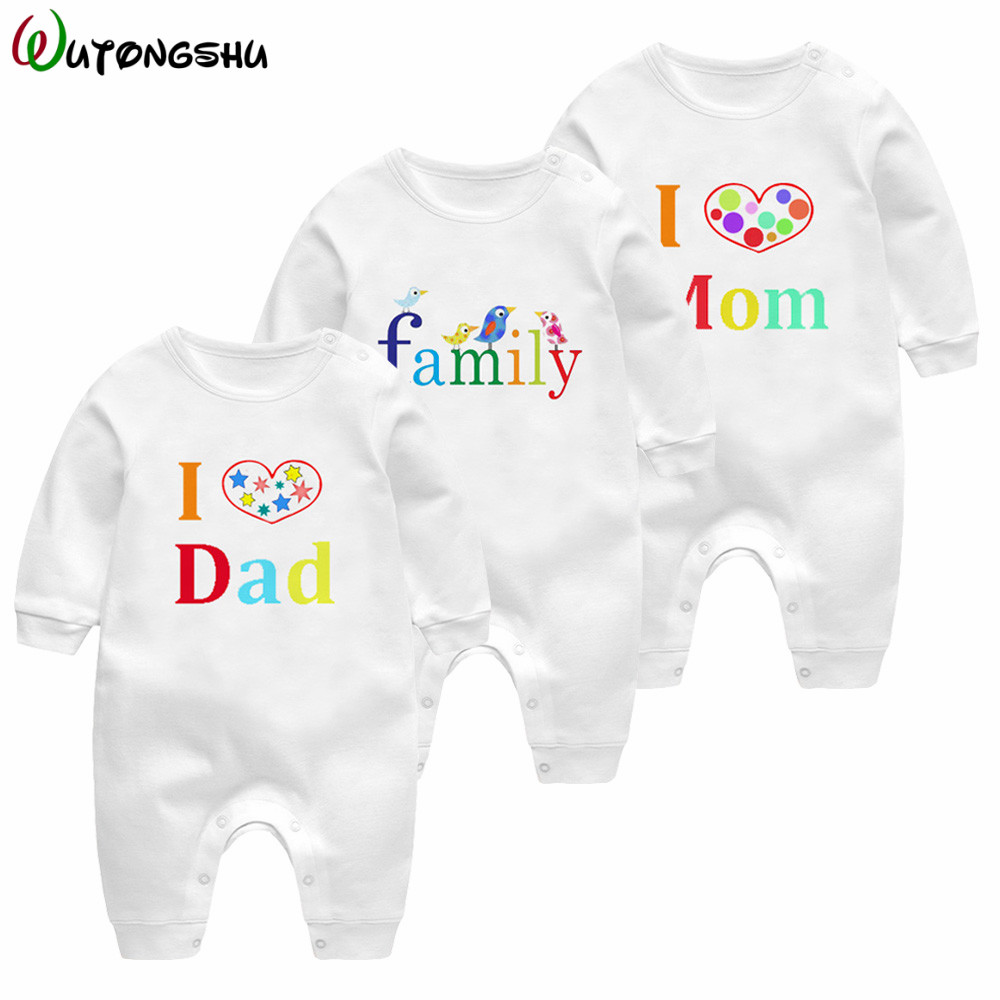 I love Mum& Dad Newborn Baby Clothing Infant Baby Boys Girls Long Sleeve Cotton Rompers Cute Letter Jumpsuit Outfits Sunsuits newborn infant baby girl boys cute rabbit bunny rompers jumpsuit long sleeve clothing outfits girls sunsuit clothes
