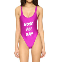 Echoine Solid Women's Bathing Suits Rose All Day Letter Print One Piece Swimsuit Bodysuit High Cut Backless Strappy Bathers