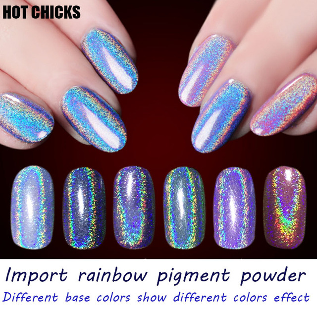 HOT CHICKS 05g Box Holographic Laser Nail Glitters Holo Rainbow Art Powder