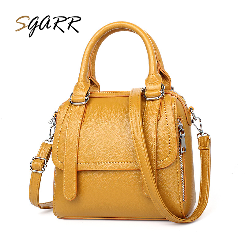 SGARR Famous Brand Women Handbag Luxury Leather Bag Pillow Boston Purse Yellow More Pure Color Shoulder Bag Ladies Crossbody Bag woman in the summer of 2016 youth popular color patent leather crocodile pillow boston crossbody bag business mini pochette