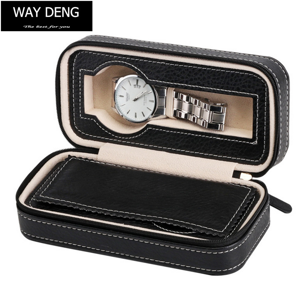 Way Deng - Durable 2 Slots Black PU Leather Jewelry Display Watch Box Zip Lock Velvet Storage Case Organizer - YPK005 pu leather velvet blood halloween choker page 2
