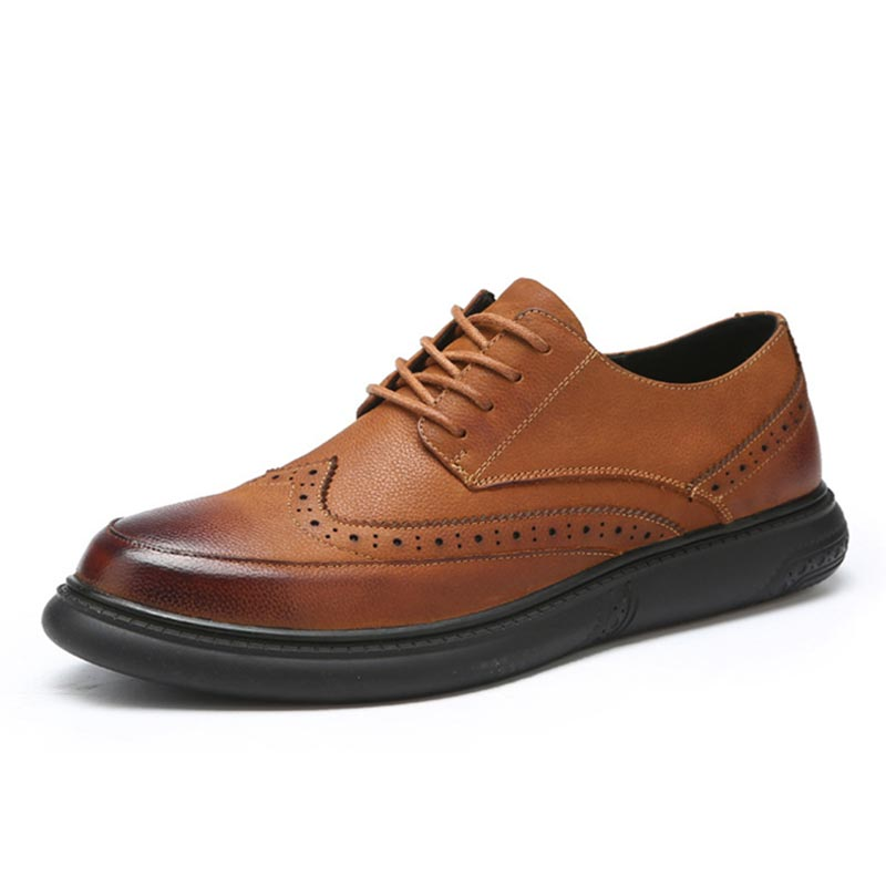 Classic Brogue Shoes For Teenager Boys Casual Leather Shoes Fashion Breathable Men Shoes Spring Massage Comfortable Footwear