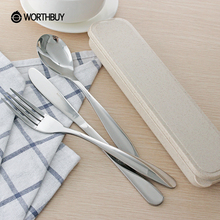 WORTHBUY Portable Western Cutlery Set Picnic Travel Tableware Stainless Steel Dinnerware Set Steak Knife Fork Food Dinner Set