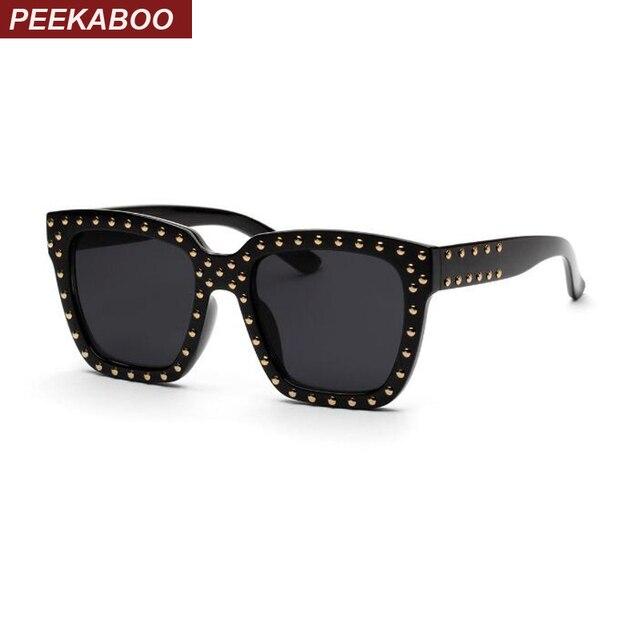 Peekaboo black square frame glasses men clear lens rivet shade women ...
